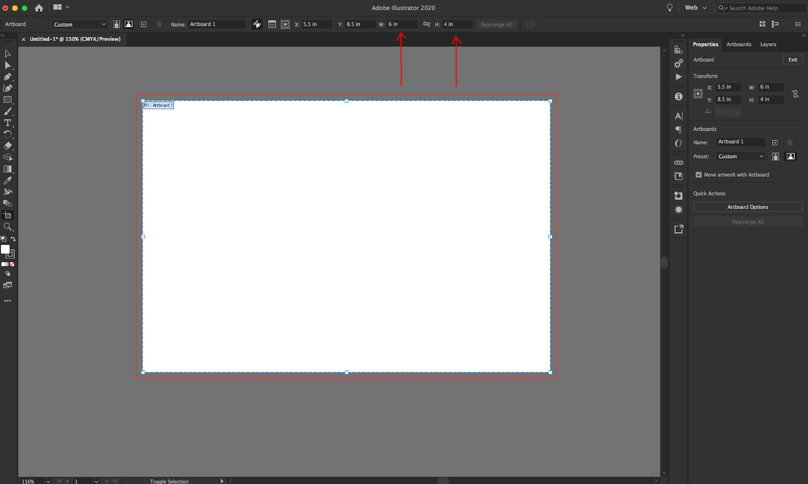 Image showing how to set artboard in Adobe Illustrator.