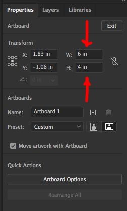 Image showing another way to change artboard size in Adobe Illustrator.