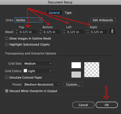 Image showing how to set bleed in Adobe Illustrator.