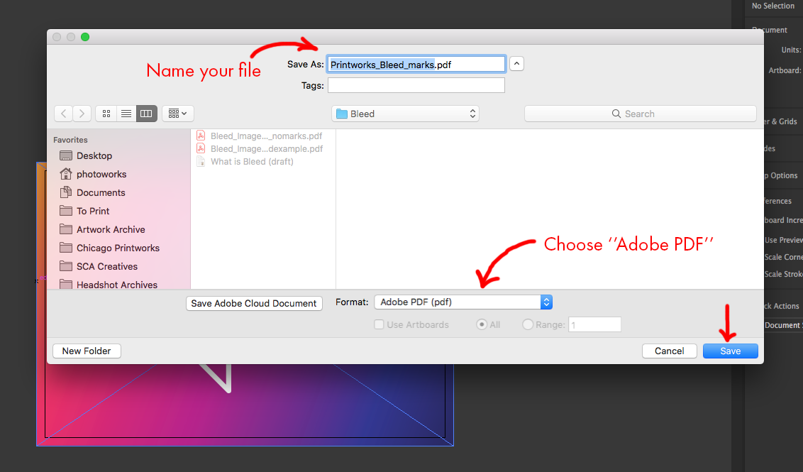 Image showing how to name and save file as PDF in Adobe Illustrator.
