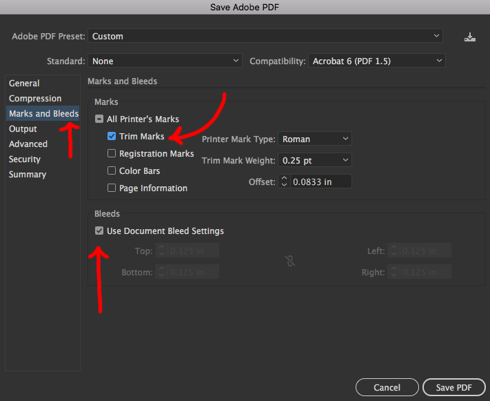 Image showing how to save PDF with trim marks in Adobe Illustrator.