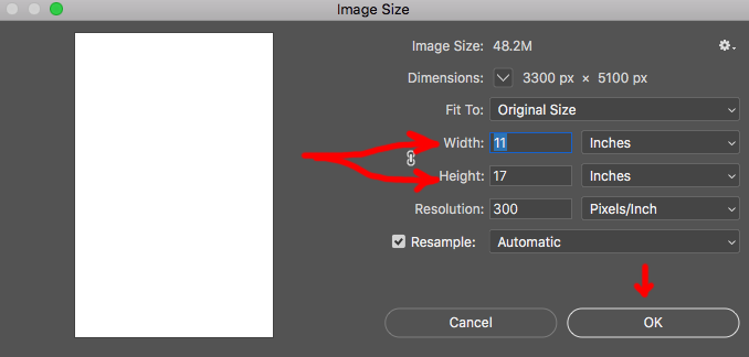 Image showing how to set document size in Adobe Photoshop.