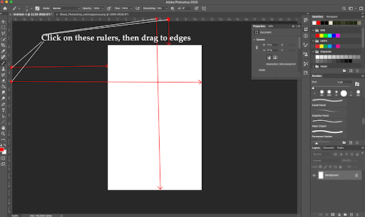 Image showing how to add cut line guides in Adobe Photoshop.