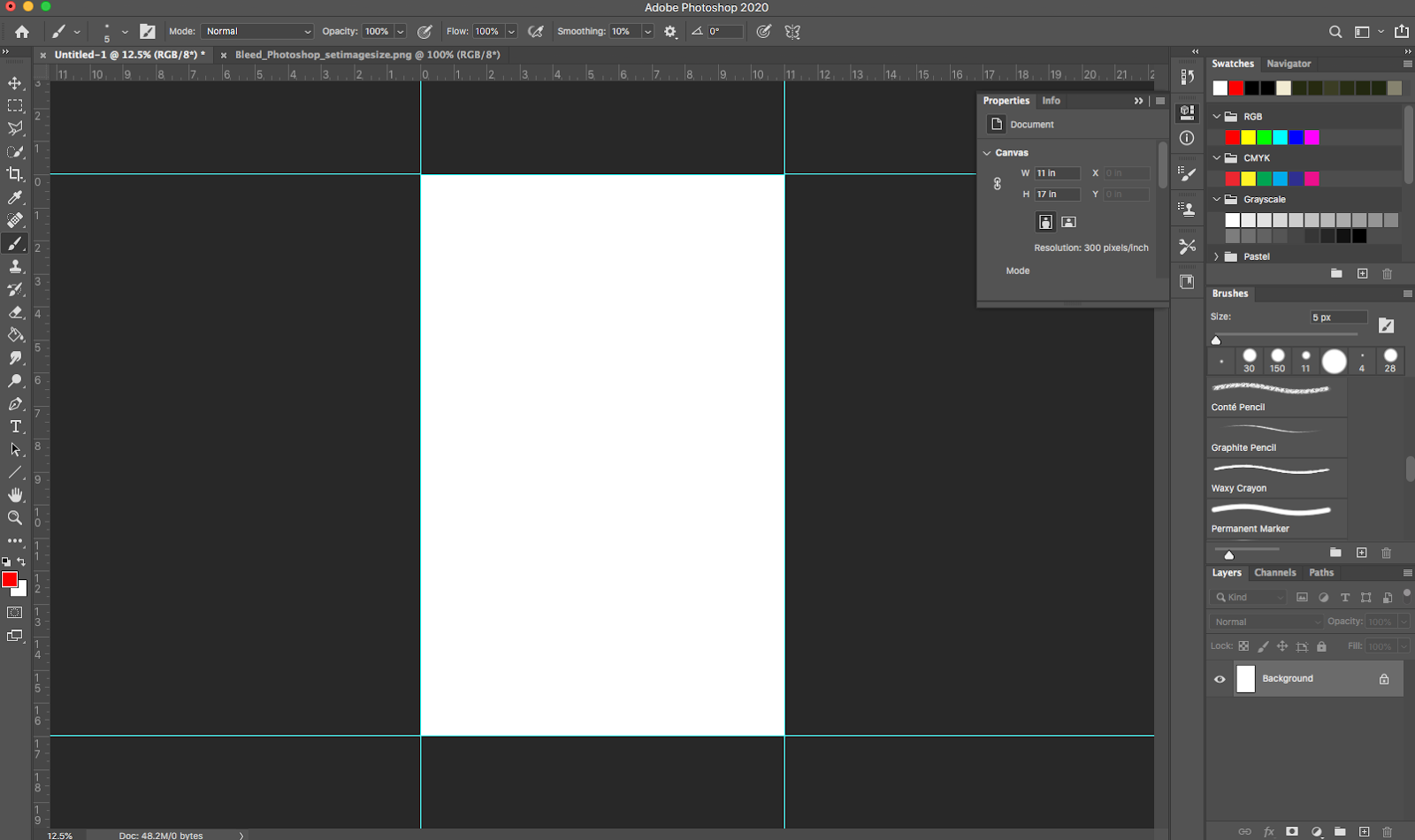 Image showing properly set trim guides in Adobe Photoshop.
