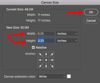 Image showing how to adjust canvas size in Adobe Photoshop.