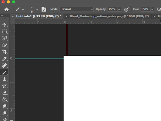 Image showing properly set trim guides with bleed in Adobe Photoshop.