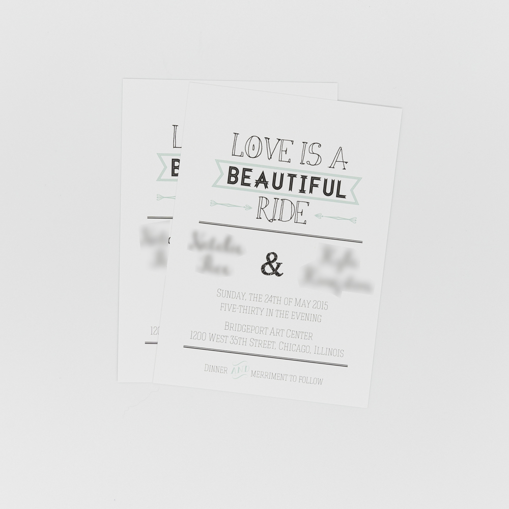 """Wedding invitation featuring the text """"Love is a Beautiful Ride"""""""