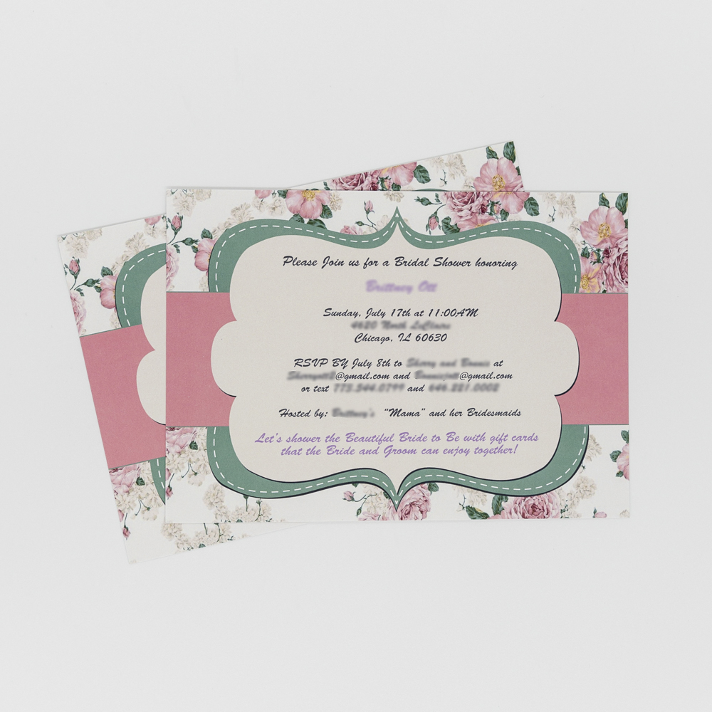 Bridal shower invitation with floral decoration.