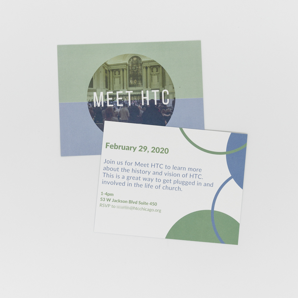 Church invitation featuring a photo of the congregation.