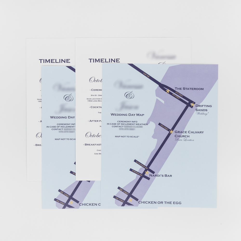 Wedding invitation featuring an illustration of a street map.
