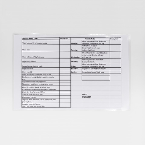 Image of a laminated poster featuring daily cleaning tasks for a business.