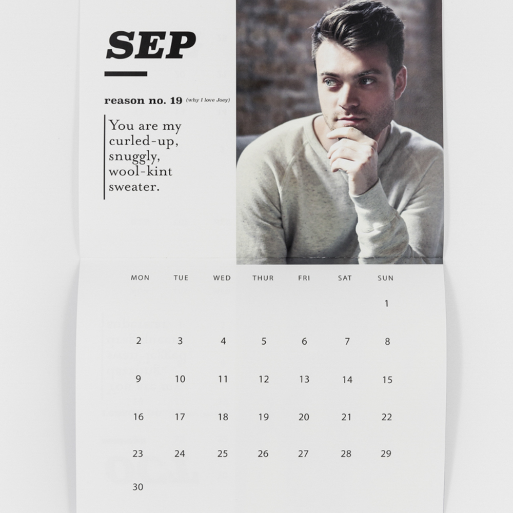 Custom printed calendar with photo of man in thinking posture.