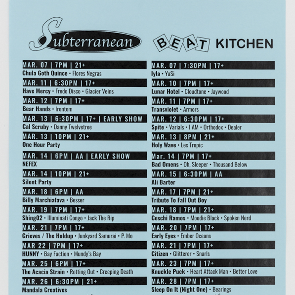 Custom printed calendar poster featuring monthly show lineup for Subterranean and Beat Kitchen.