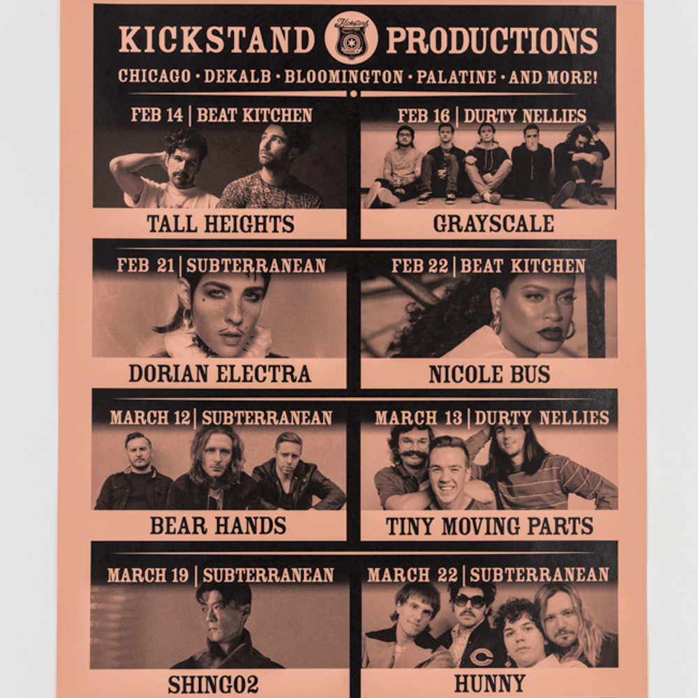 Custom printed calendar poster featuring show lineup for Kickstand Productions.