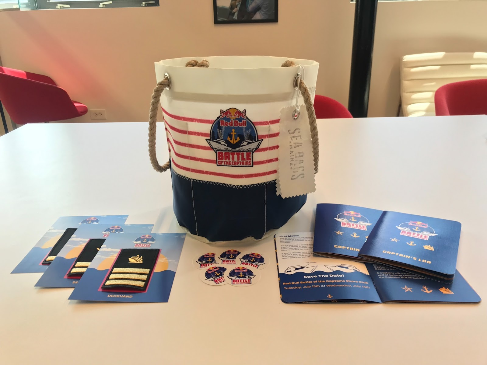 Image of Red Bull Battle of the Captains promotional package, including a bag, booklets, stickers, and cards