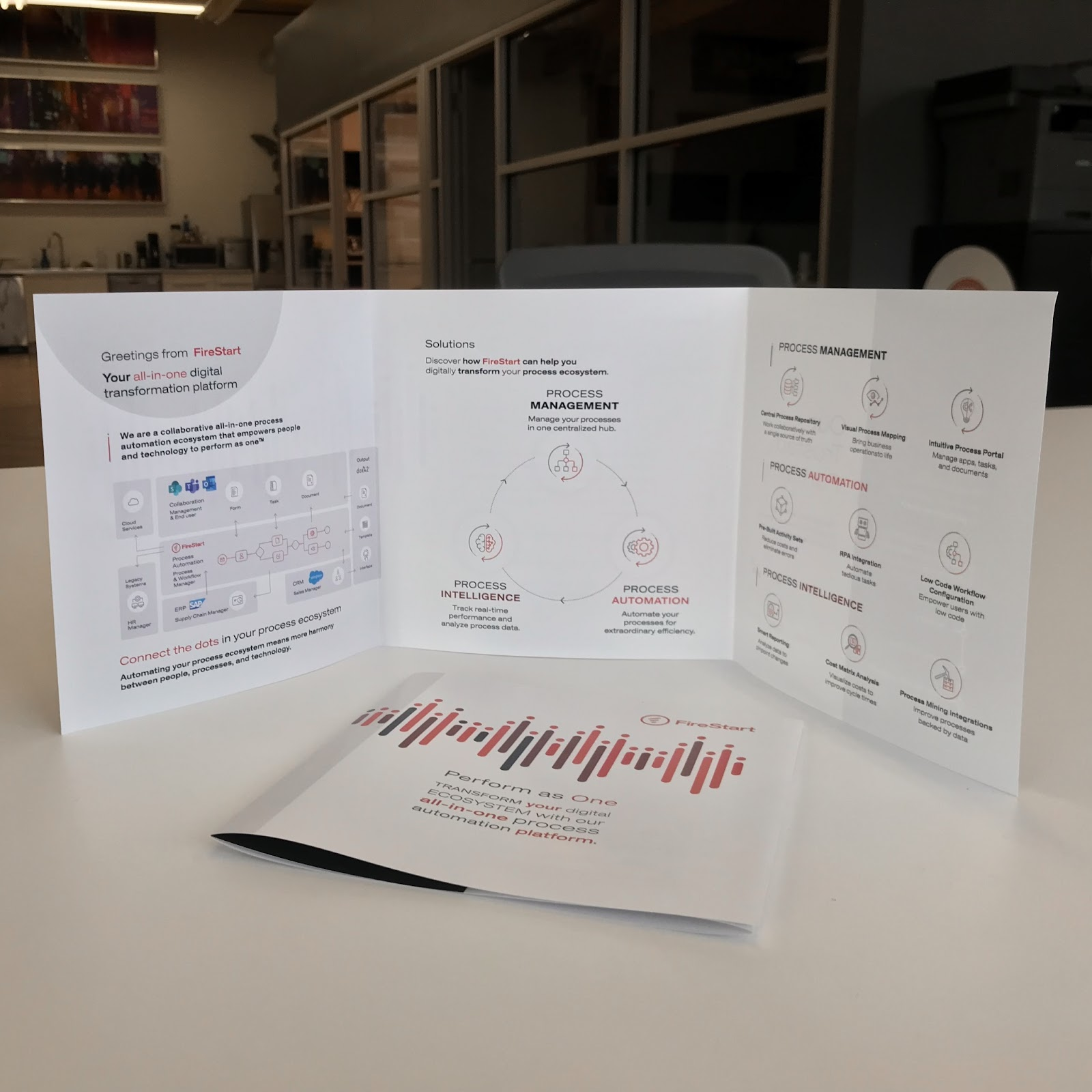 Image of tri fold brochure from FireStart.