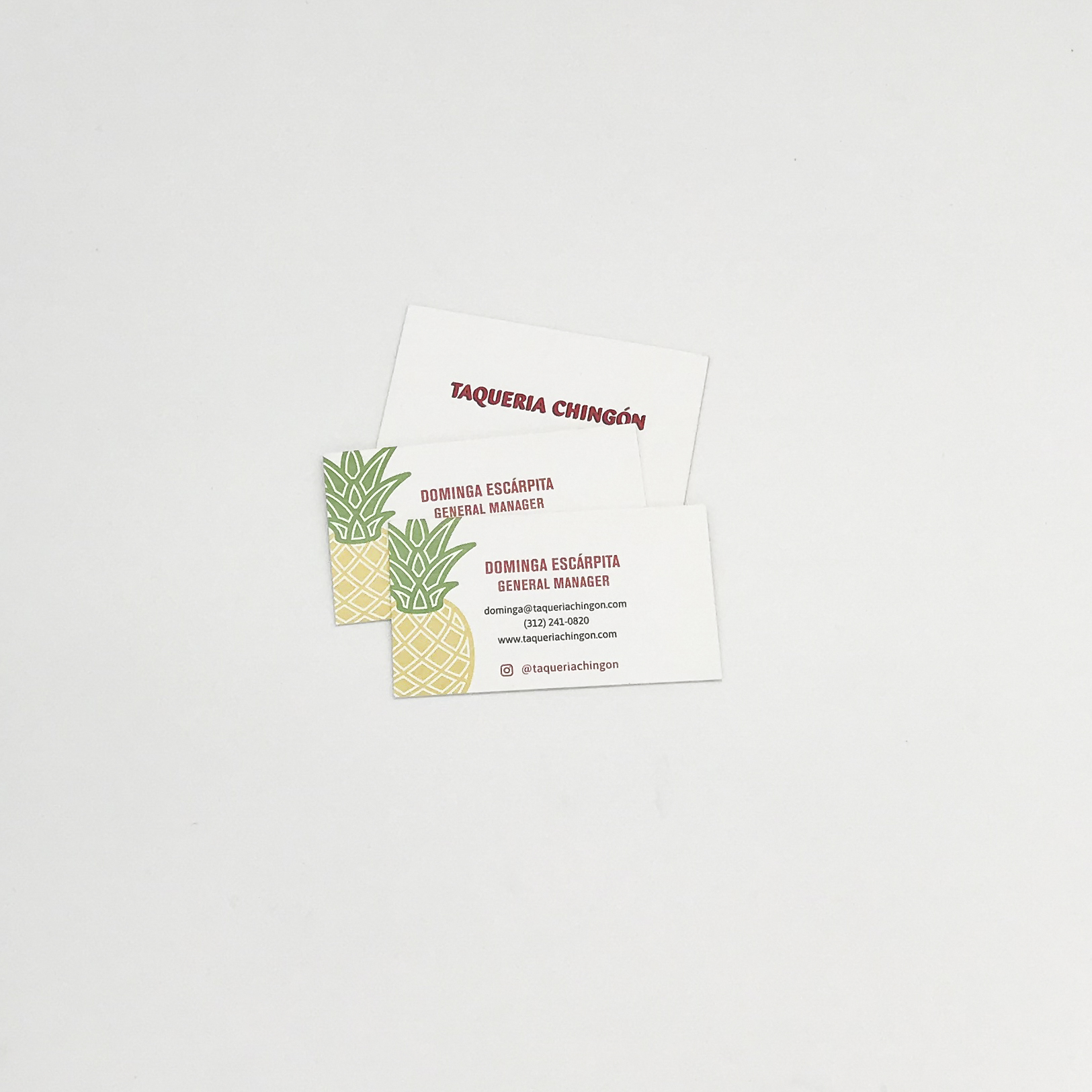 Business cards featuring a pineapple