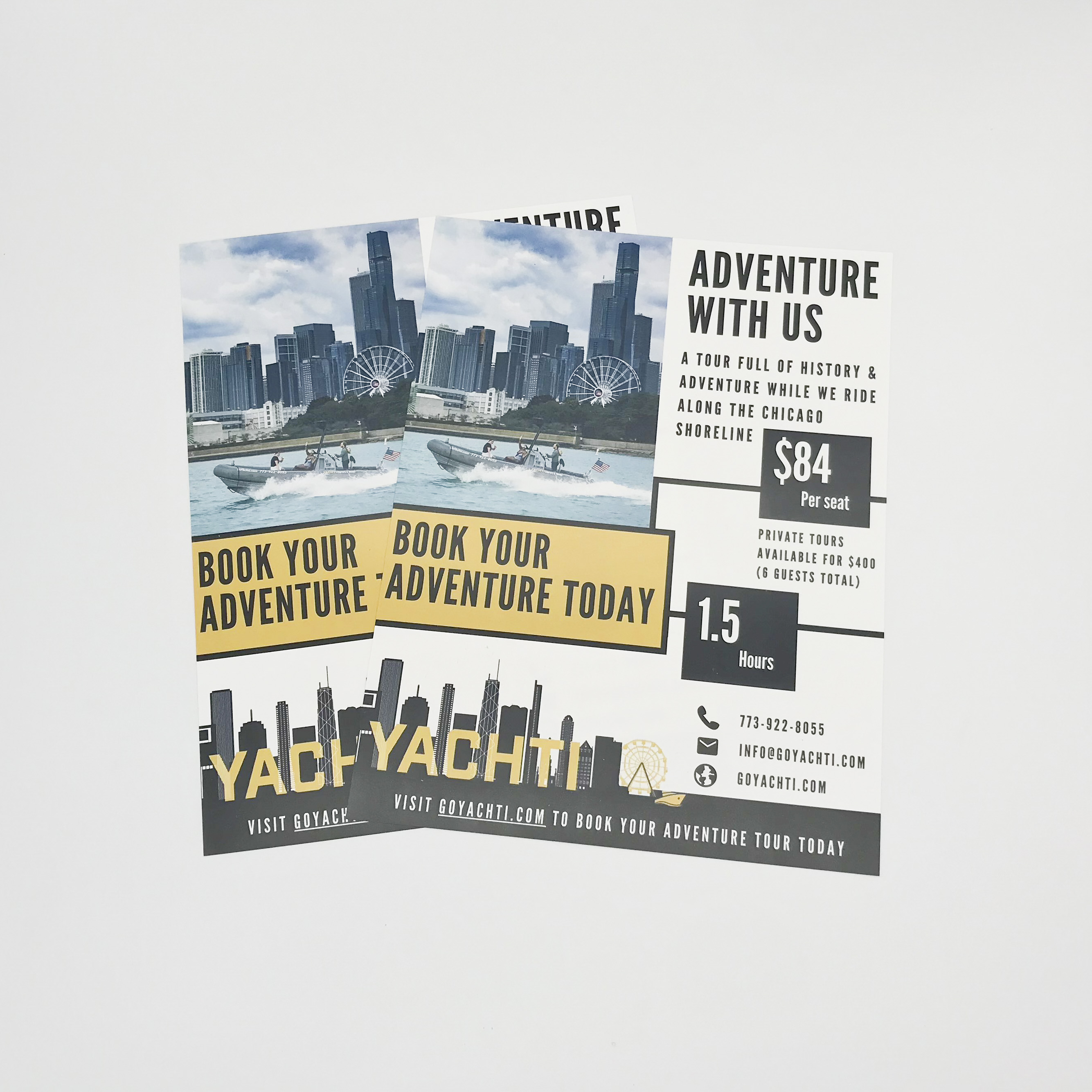 Posters for a boat rental, printed on waterproof paper