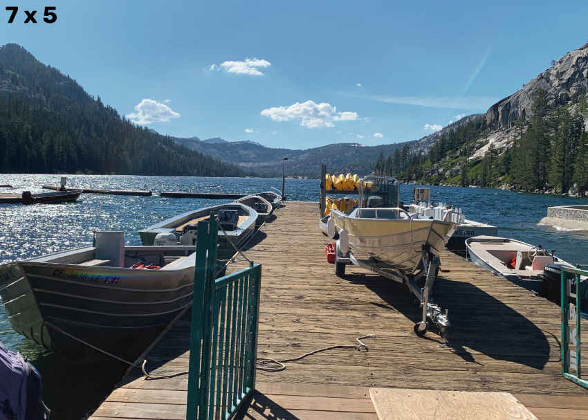 Image of a dock at Echo Lake, with several boats, cropped for a 7 x 5 frame