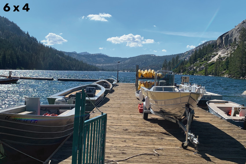 Image of a dock at Echo Lake, with several boats, cropped for a 6 x 4 frame