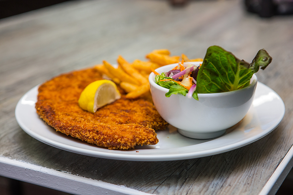 Chicken Schnitzel with chips and salad