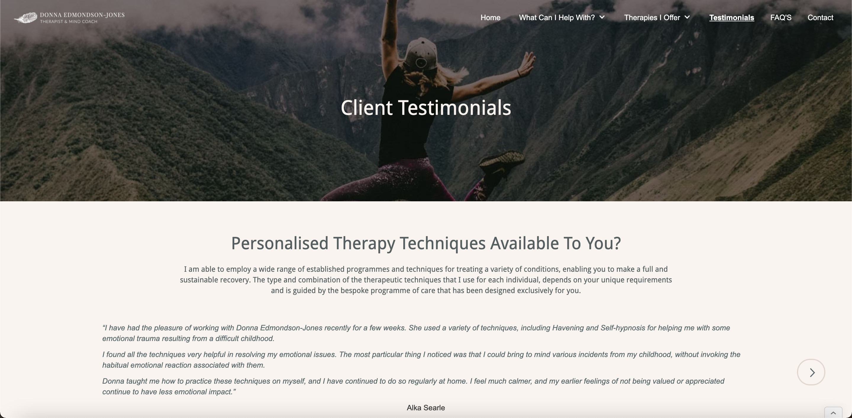 therapist new testimonial page