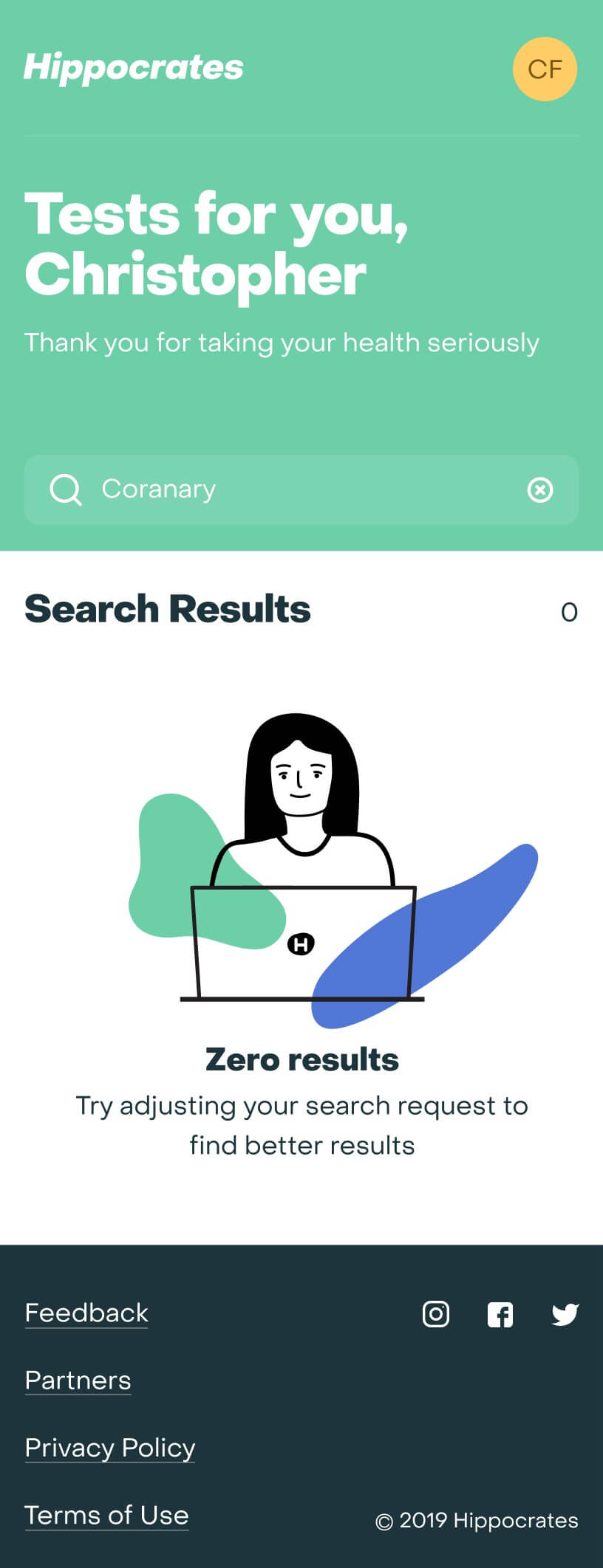 Empty search on mobile