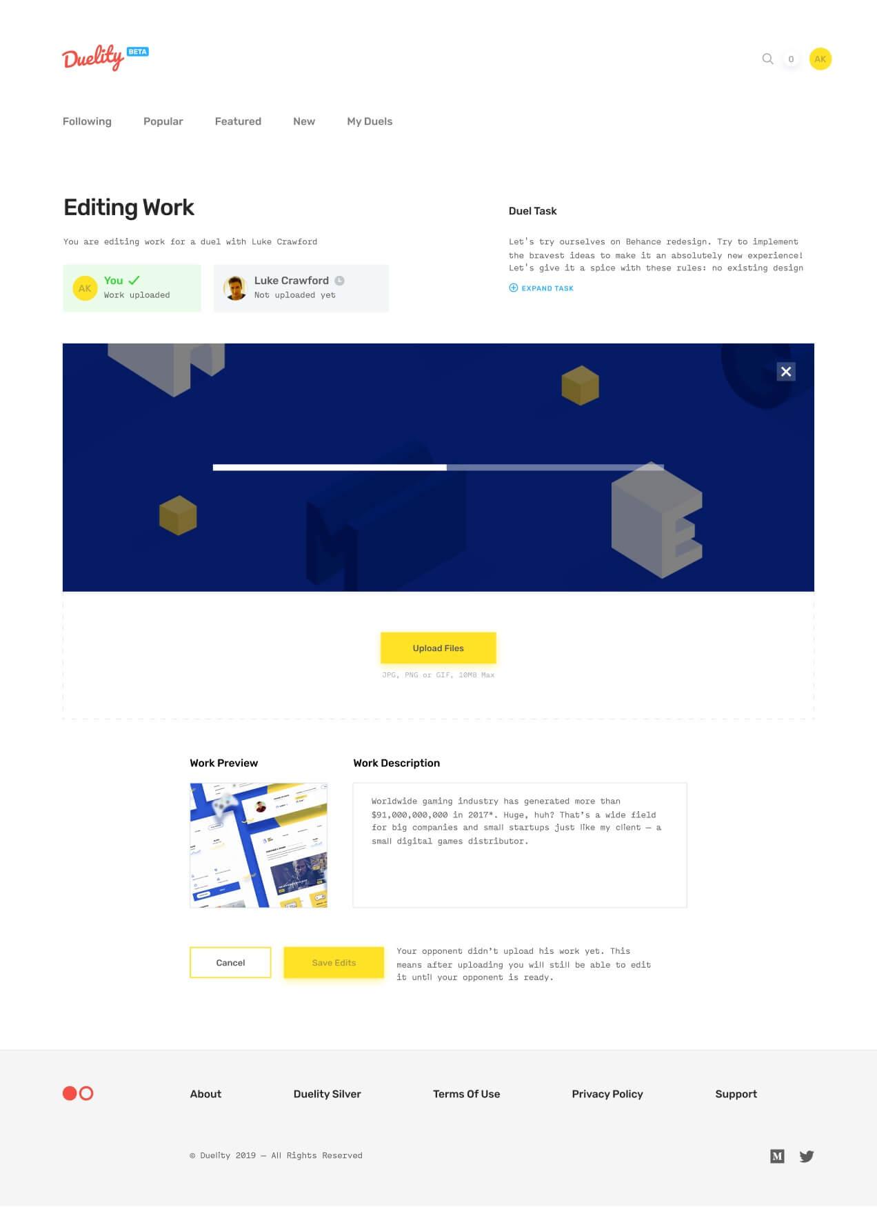 Uploading work