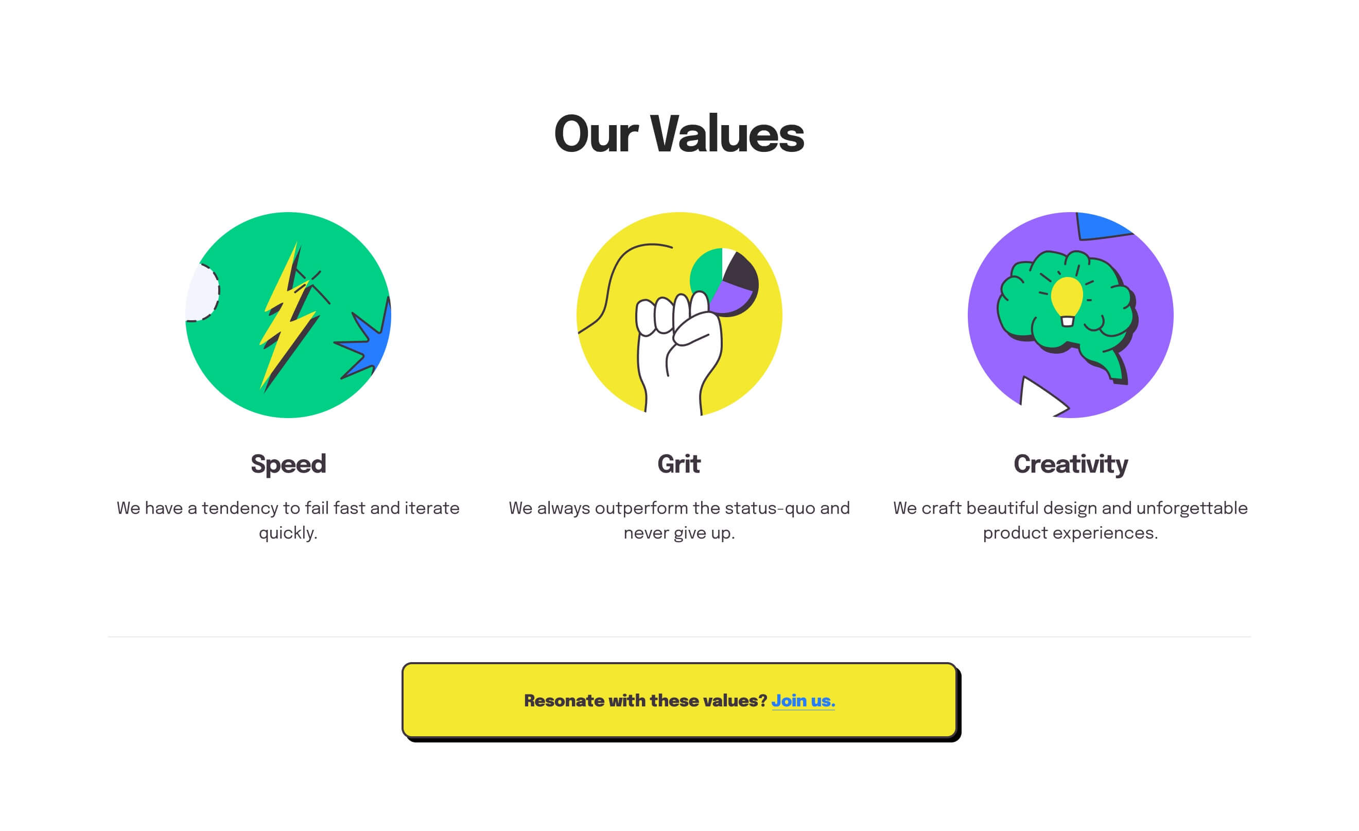 Values section