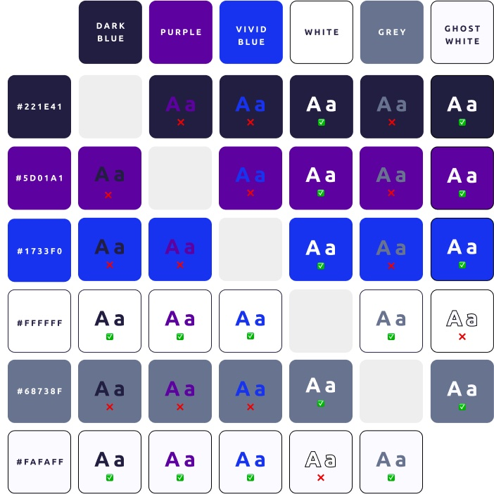 accessible colour pairings