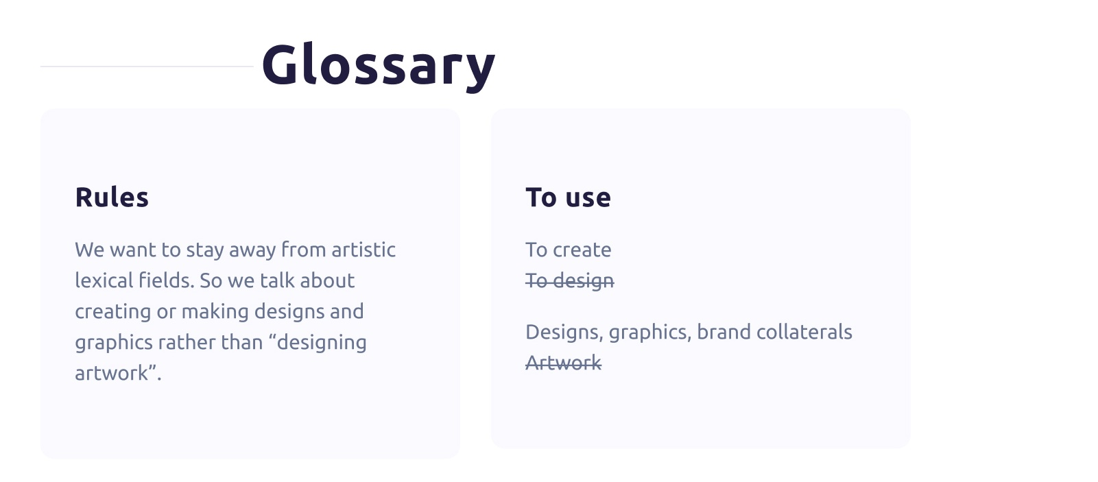 Glossary rules with words to use and others to avoid to stay on-brand