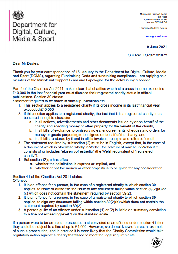 Letter from the Department for Digital, Culture, Media & Sport to RightMarket