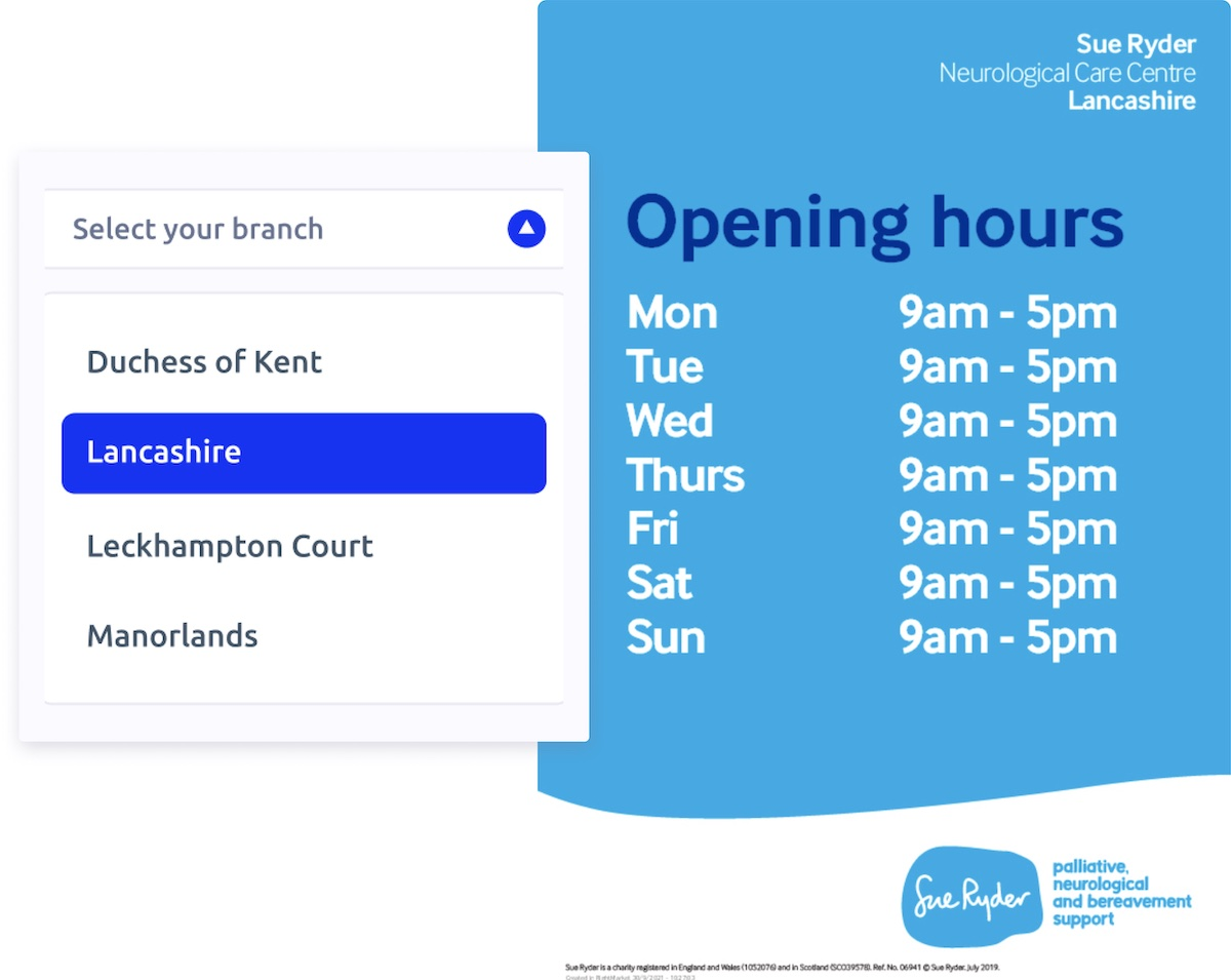 Select a branch in the dropdown menu and see the right opening hours automatically populated on your design.