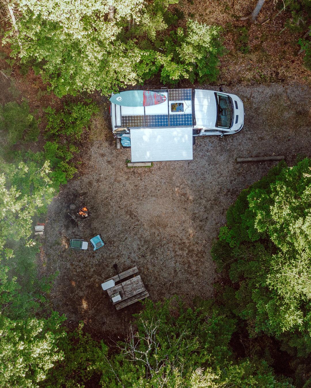 Vue aérienne campeur