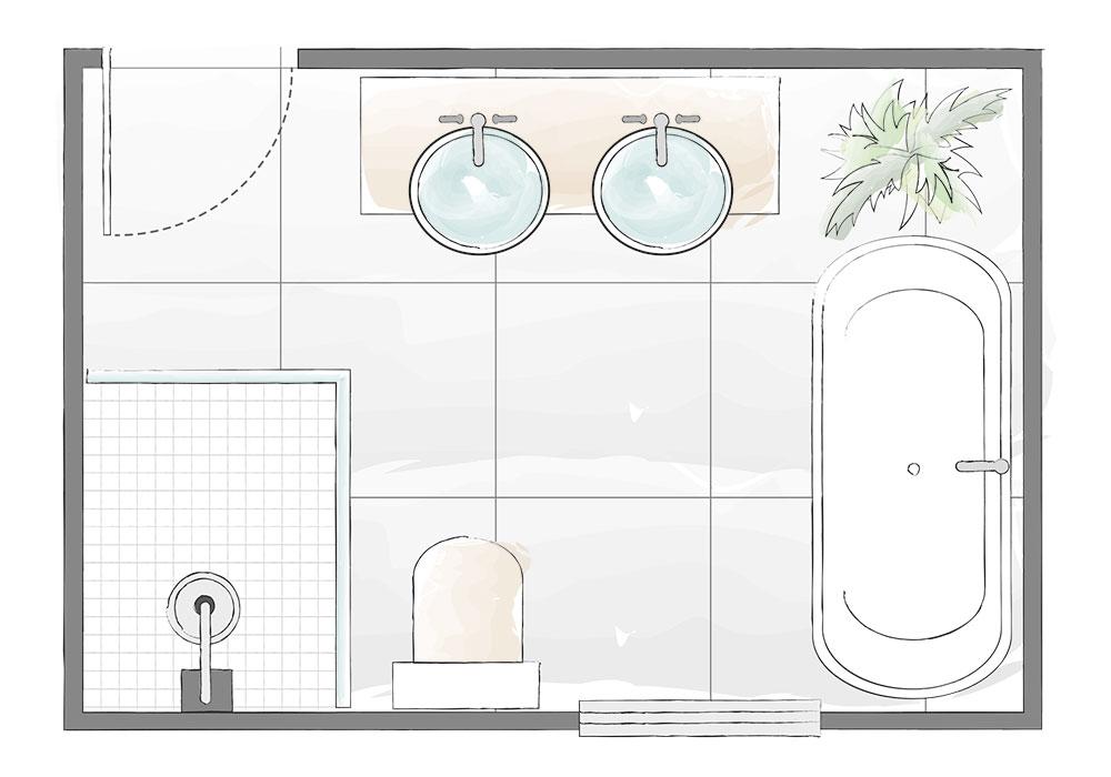 Bố trí nhà vệ sinh có kích thước lớn lên đến 4m.