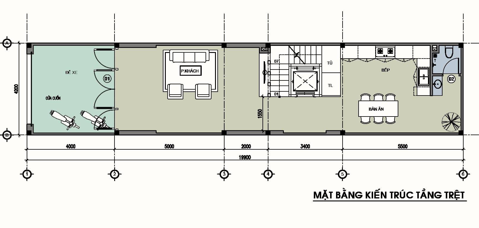 Ví dụ mặt bằng tầng trệt nhà phố có nhà vệ sinh đặt cuối nhà.