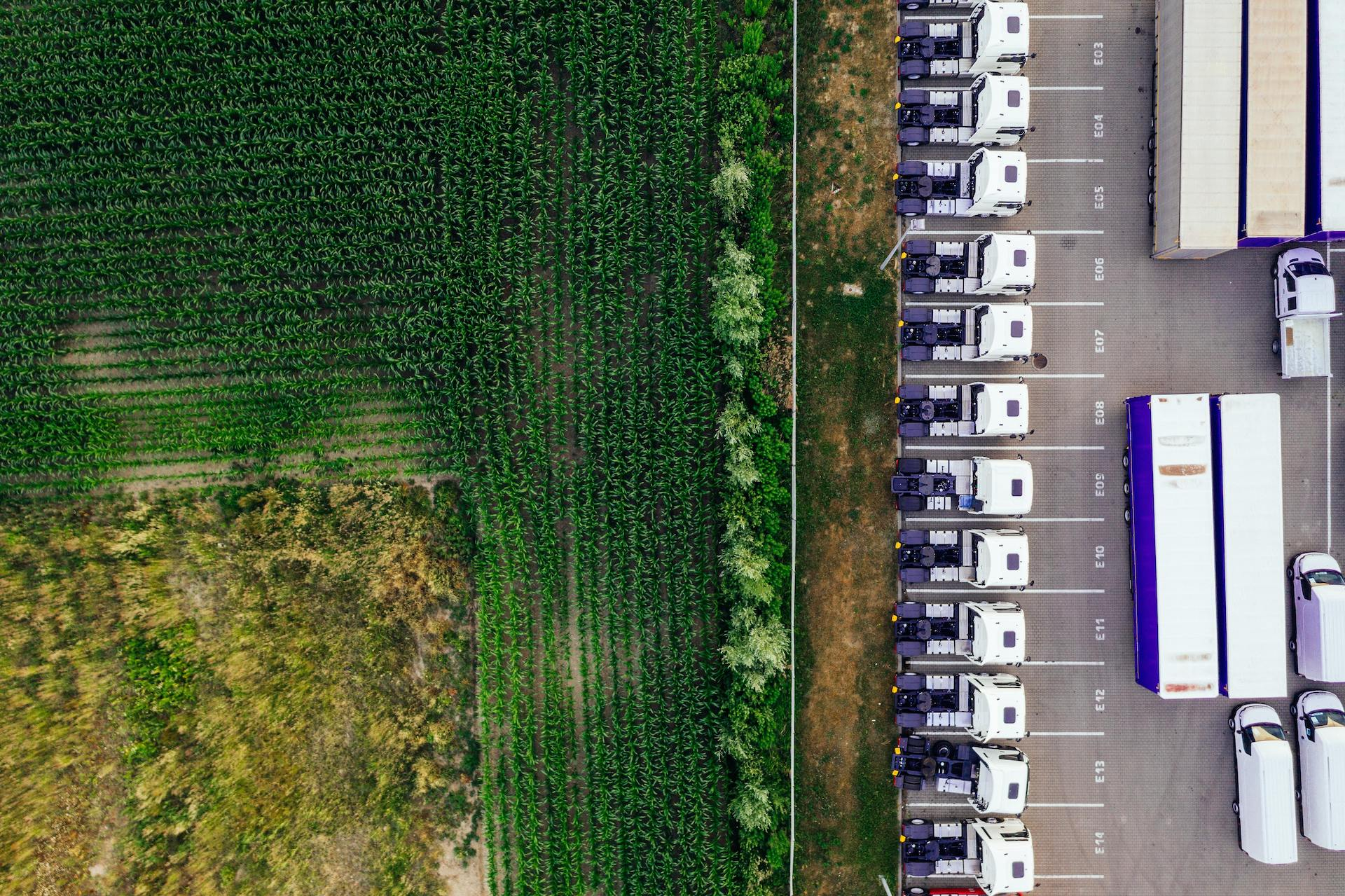 Cargo truck parking landscape