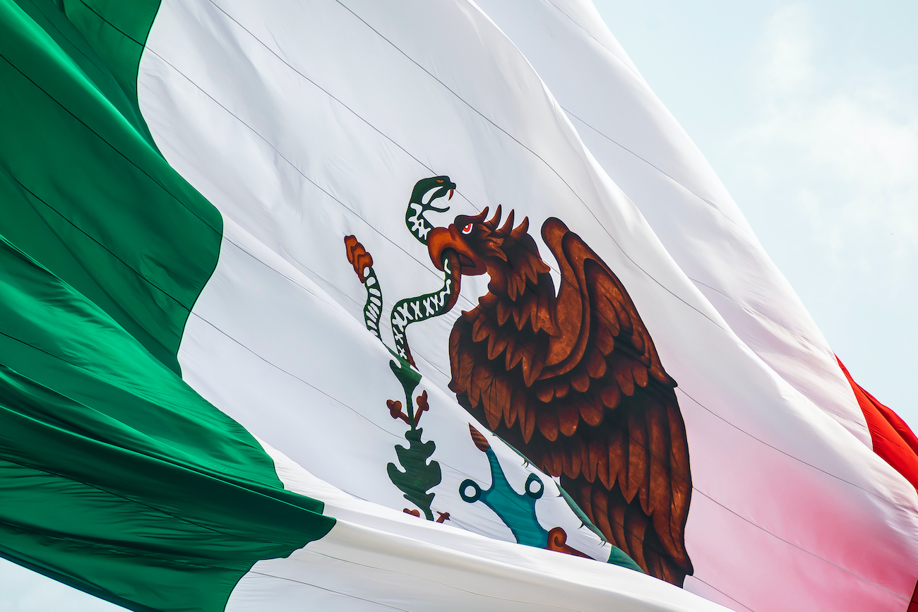 Flag of Mexico waving in the foreground