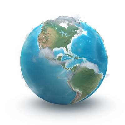 A decorative image of the planet Earth.