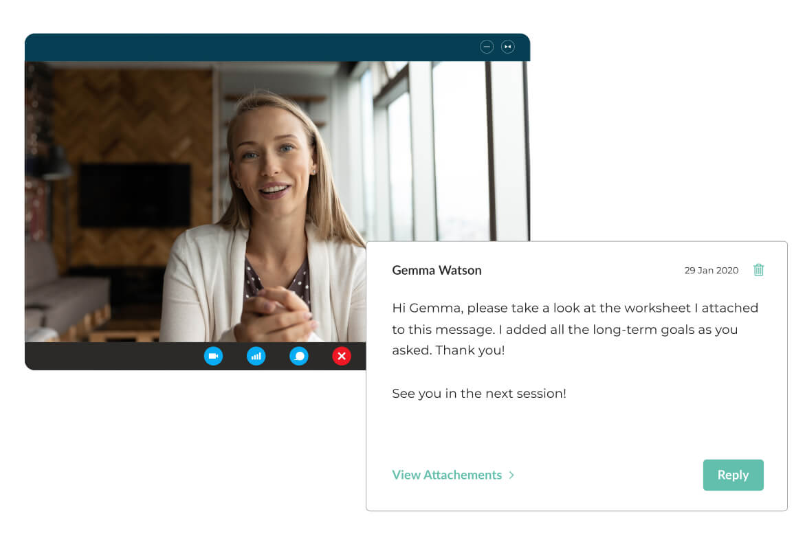 Image of Mindsum's platform for live video, phone call and messaging