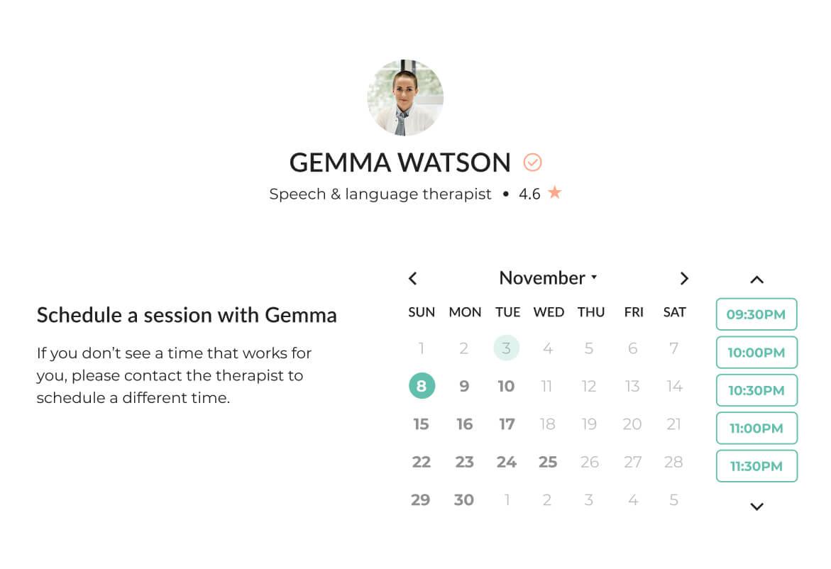Image of Mindsum's platform for booking a therapist