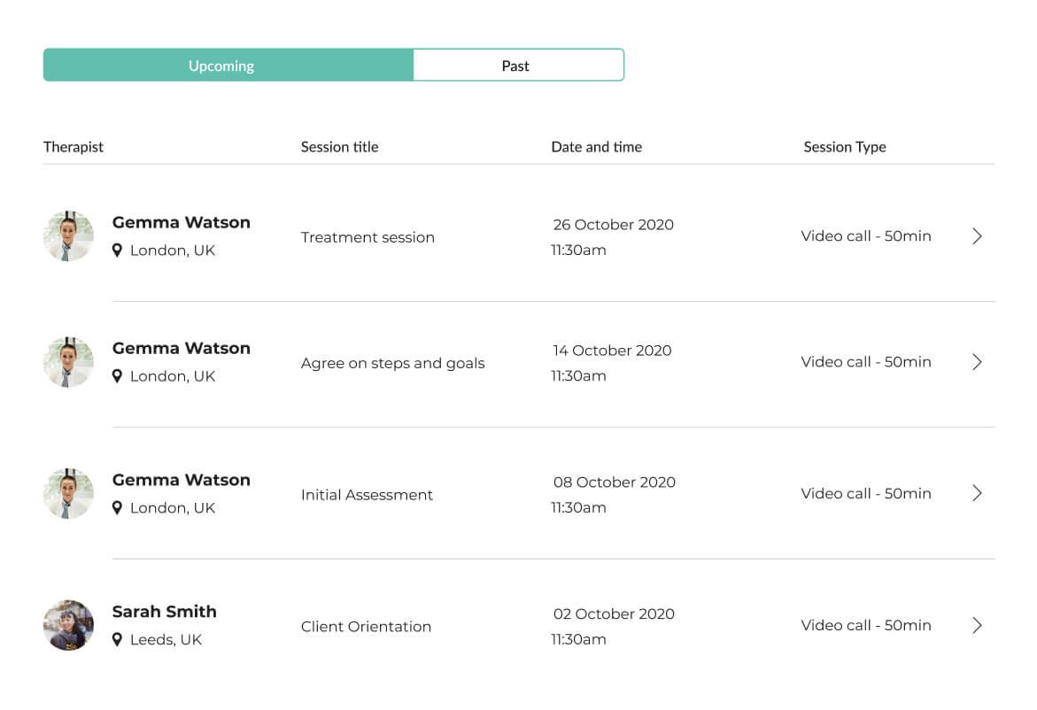 Image of Mindsum's platform for managing your sessions