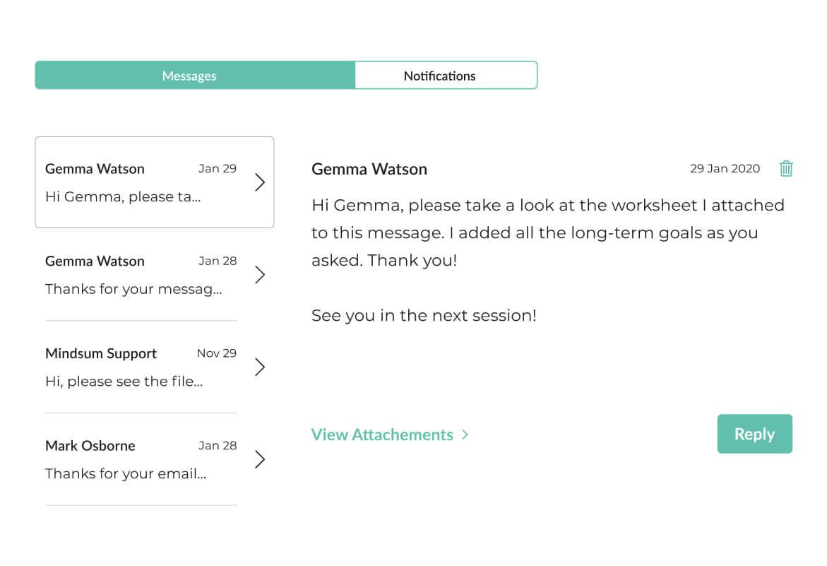 Image of Mindsum's platform for securely messaging your therapist