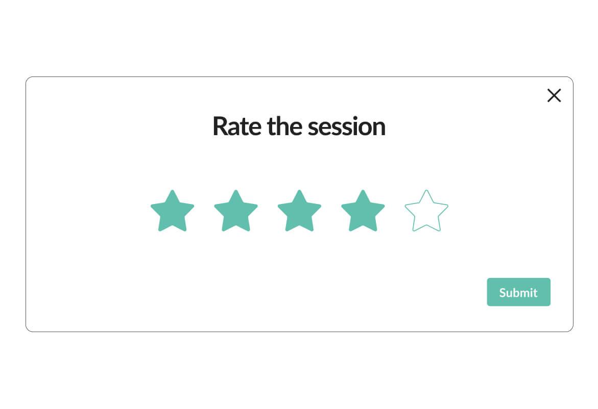 Image of Mindsum's platform for rating your session