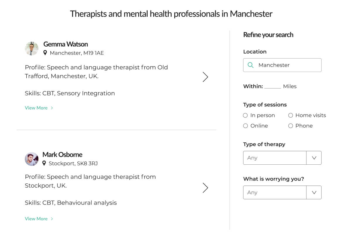 Image of Mindsum's platform for searching for therapists