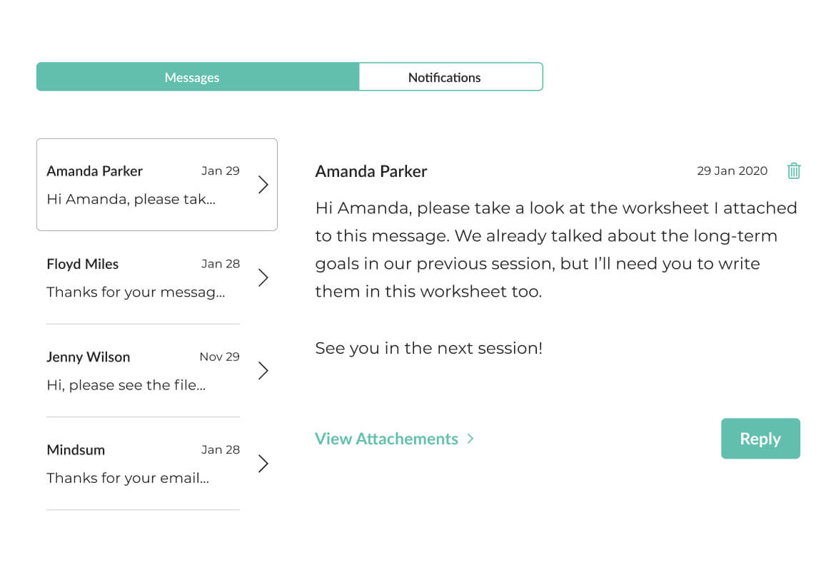 Image of Mindsum's platform for securely messaging your clients