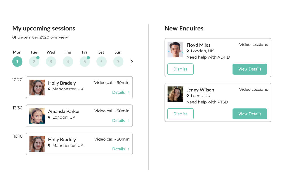 Image of Mindsum's platform for managing all your sessions and enquiries