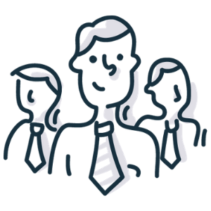 Sketch-like graphic of a headshot of 3 men in suits.