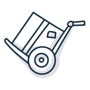 Sketch-like graphic of a dolly device moving a cardboard box.