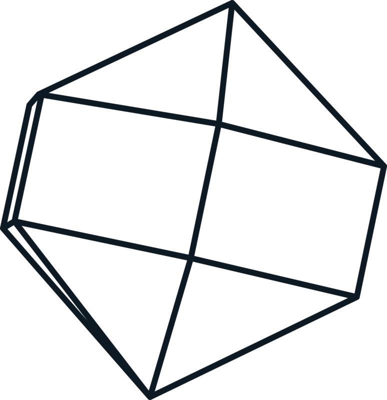 Black 3D hexagon shape.